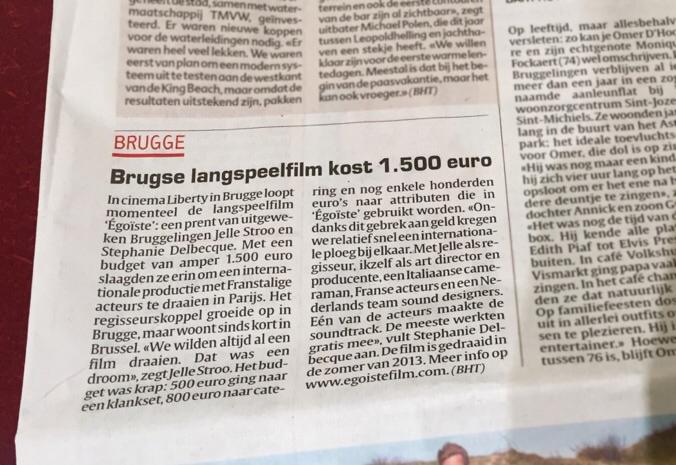 Égoïste in Het Laatste Nieuws, 17 March 2015