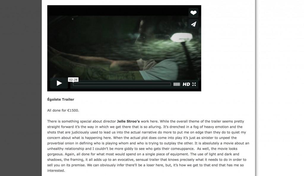 Égoïste in Slashfilm, 17 May 2014