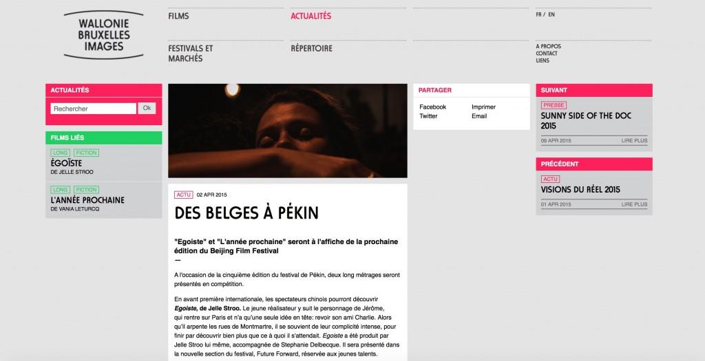 Égoïste in Wallonie Bruxelles Images, 2 April 2015